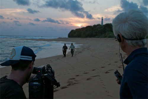 Filming on beach